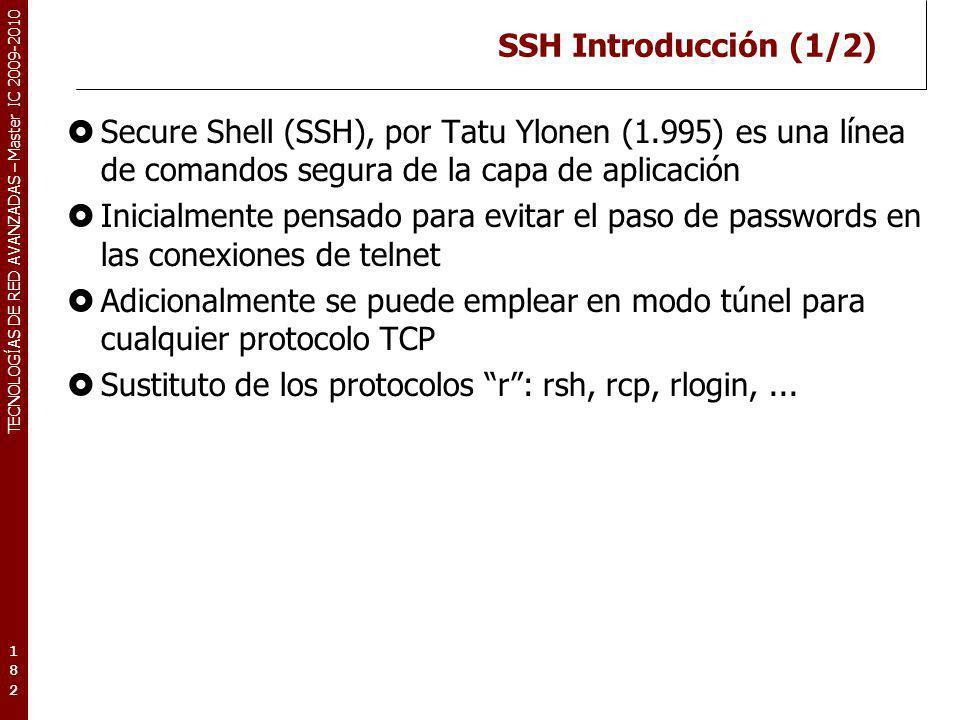 TECNOLOGÍAS DE RED AVANZADAS – Master IC 2009-2010 SSH Introducción (1/2) Secure Shell (SSH), por Tatu Ylonen (1.995) es una línea de comandos segura
