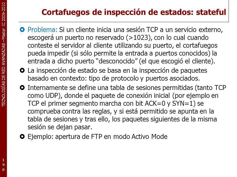 TECNOLOGÍAS DE RED AVANZADAS – Master IC 2009-2010 Cortafuegos de inspección de estados: stateful Problema: Si un cliente inicia una sesión TCP a un s