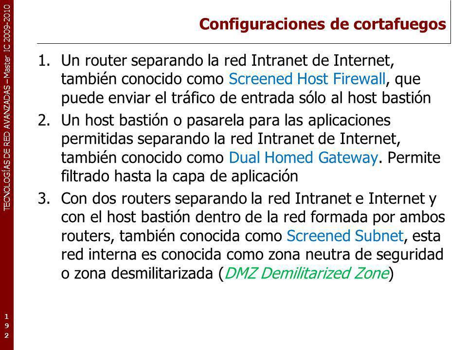 TECNOLOGÍAS DE RED AVANZADAS – Master IC 2009-2010 Configuraciones de cortafuegos 1.Un router separando la red Intranet de Internet, también conocido