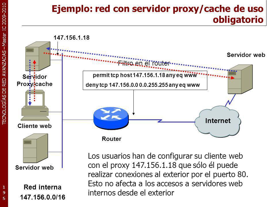 TECNOLOGÍAS DE RED AVANZADAS – Master IC 2009-2010 Ejemplo: red con servidor proxy/cache de uso obligatorio 195195195 Internet Los usuarios han de con