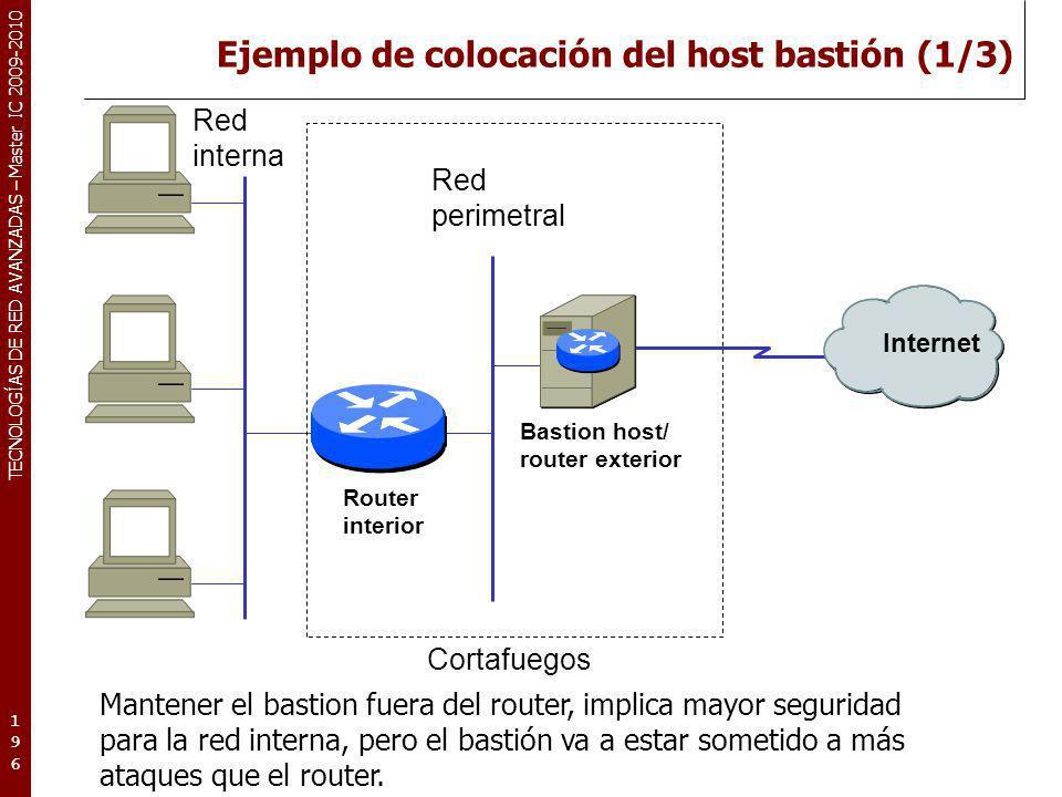 TECNOLOGÍAS DE RED AVANZADAS – Master IC 2009-2010 Ejemplo de colocación del host bastión (1/3) 196196196 Internet Red interna Router interior Bastion
