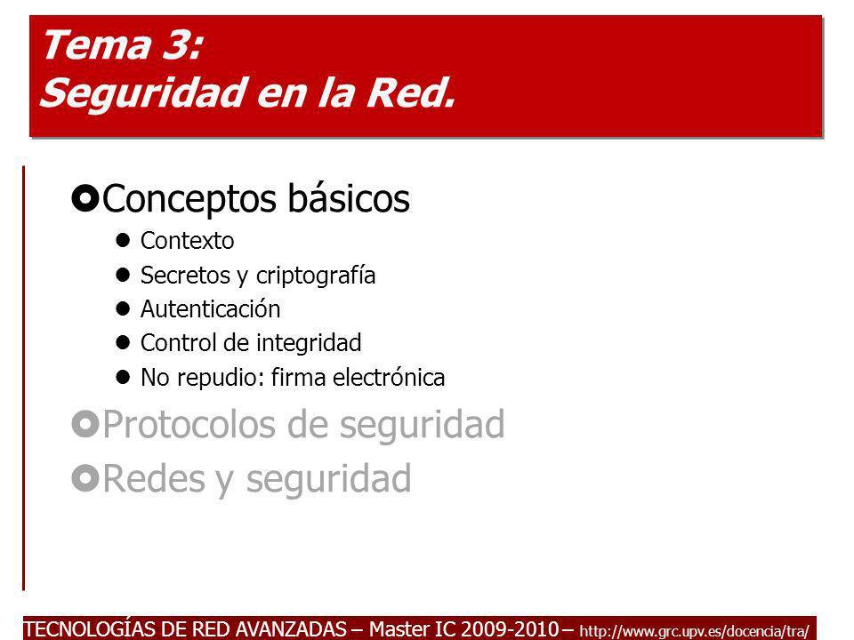 TECNOLOGÍAS DE RED AVANZADAS – Master IC 2009-2010 – http://www.grc.upv.es/docencia/tra/ Tema 3: Seguridad en la Red. Conceptos básicos Contexto Secre