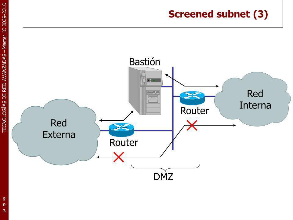 TECNOLOGÍAS DE RED AVANZADAS – Master IC 2009-2010 Screened subnet (3) 203203203 Bastión Red Externa Red Interna Router DMZ
