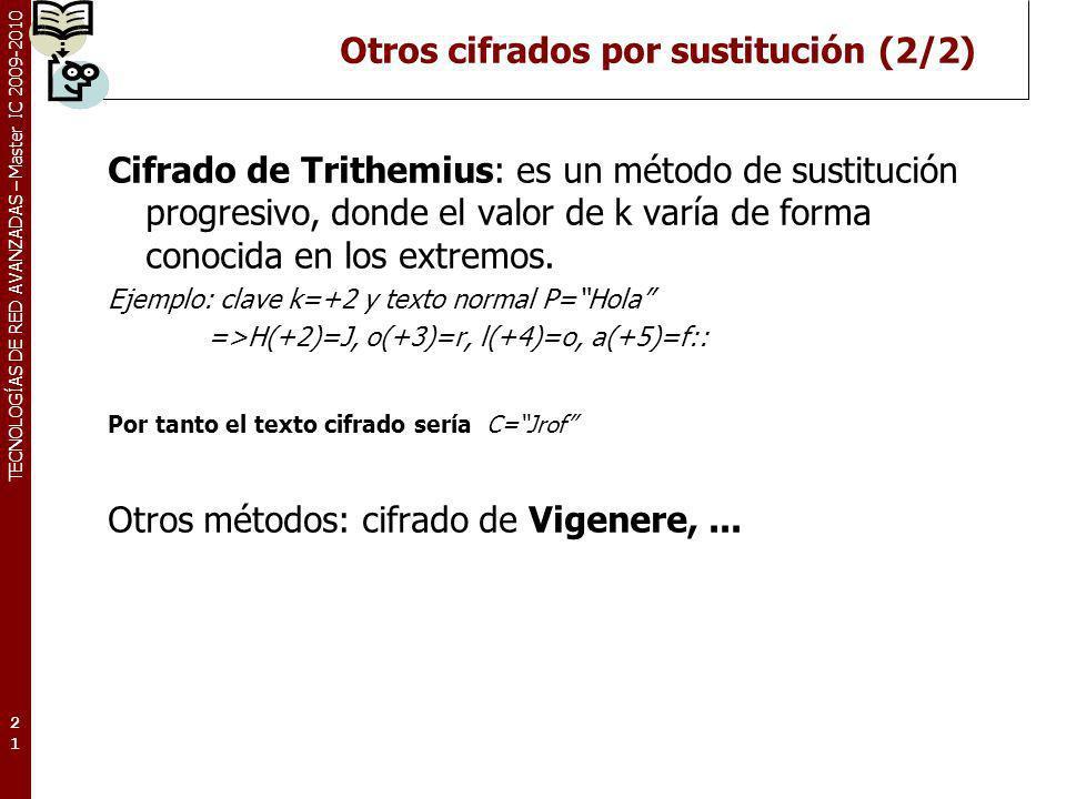 TECNOLOGÍAS DE RED AVANZADAS – Master IC 2009-2010 Otros cifrados por sustitución (2/2) Cifrado de Trithemius: es un método de sustitución progresivo,