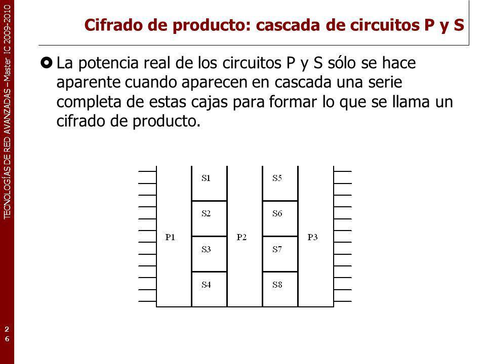 TECNOLOGÍAS DE RED AVANZADAS – Master IC 2009-2010 Cifrado de producto: cascada de circuitos P y S La potencia real de los circuitos P y S sólo se hac