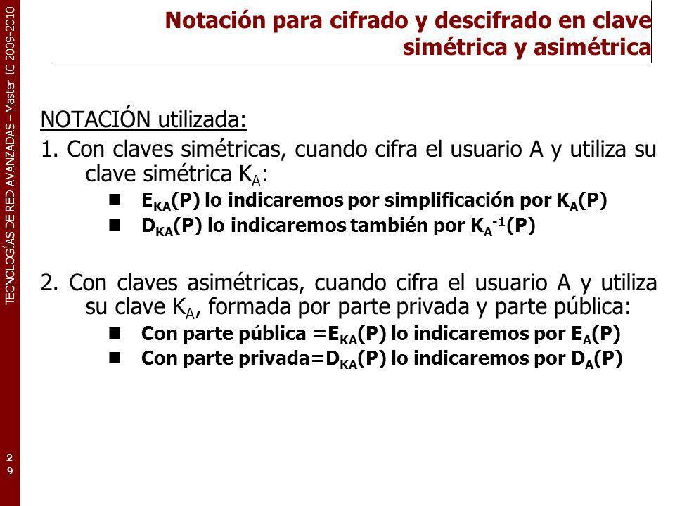 TECNOLOGÍAS DE RED AVANZADAS – Master IC 2009-2010 Notación para cifrado y descifrado en clave simétrica y asimétrica NOTACIÓN utilizada: 1. Con clave
