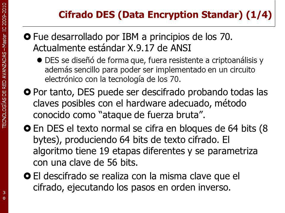 TECNOLOGÍAS DE RED AVANZADAS – Master IC 2009-2010 Cifrado DES (Data Encryption Standar) (1/4) Fue desarrollado por IBM a principios de los 70. Actual