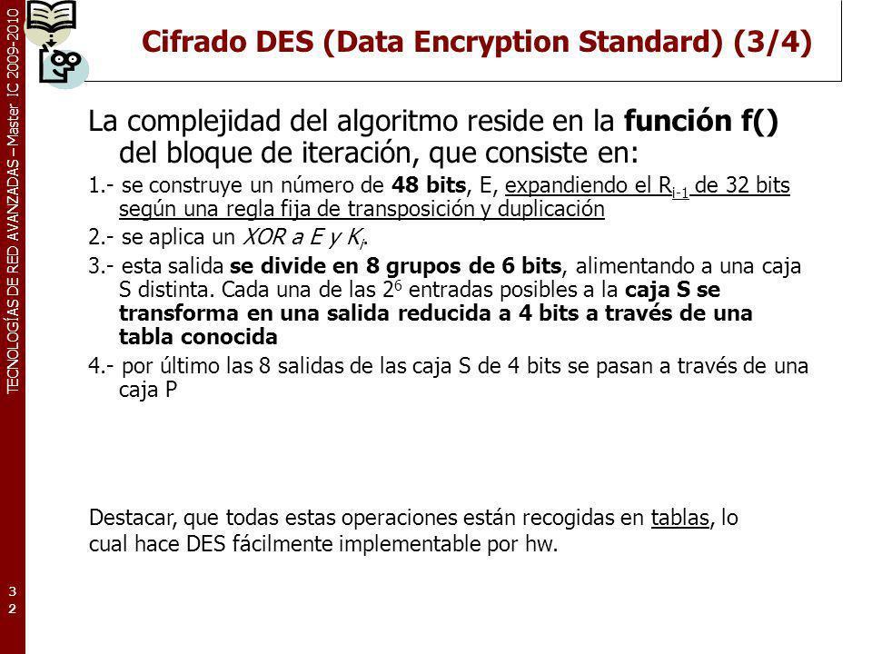 TECNOLOGÍAS DE RED AVANZADAS – Master IC 2009-2010 Cifrado DES (Data Encryption Standard) (3/4) La complejidad del algoritmo reside en la función f()