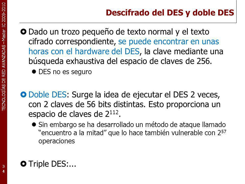 TECNOLOGÍAS DE RED AVANZADAS – Master IC 2009-2010 Descifrado del DES y doble DES Dado un trozo pequeño de texto normal y el texto cifrado correspondi