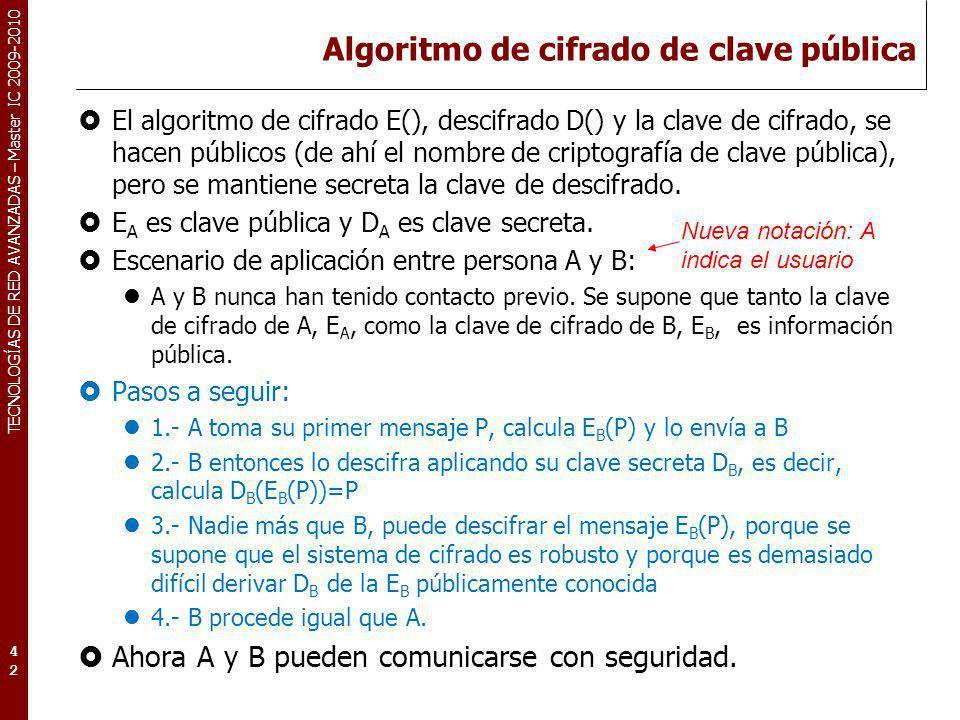 TECNOLOGÍAS DE RED AVANZADAS – Master IC 2009-2010 Algoritmo de cifrado de clave pública El algoritmo de cifrado E(), descifrado D() y la clave de cif