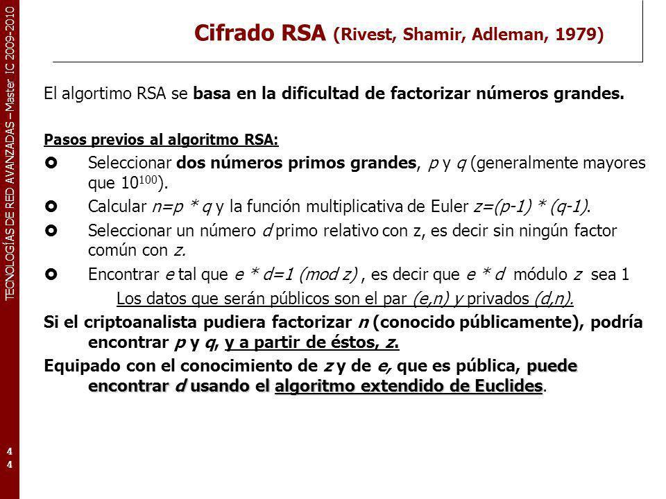 TECNOLOGÍAS DE RED AVANZADAS – Master IC 2009-2010 Cifrado RSA (Rivest, Shamir, Adleman, 1979) El algortimo RSA se basa en la dificultad de factorizar
