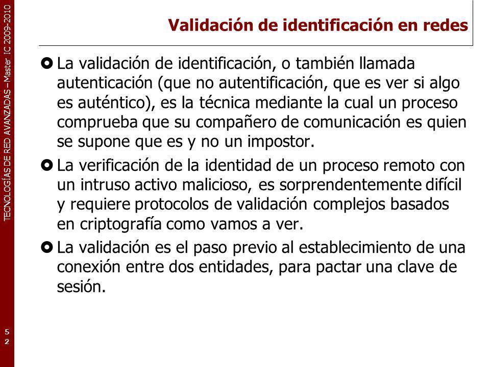TECNOLOGÍAS DE RED AVANZADAS – Master IC 2009-2010 Validación de identificación en redes La validación de identificación, o también llamada autenticac