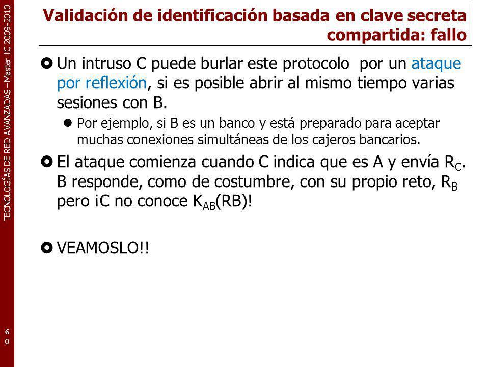 TECNOLOGÍAS DE RED AVANZADAS – Master IC 2009-2010 Validación de identificación basada en clave secreta compartida: fallo Un intruso C puede burlar es