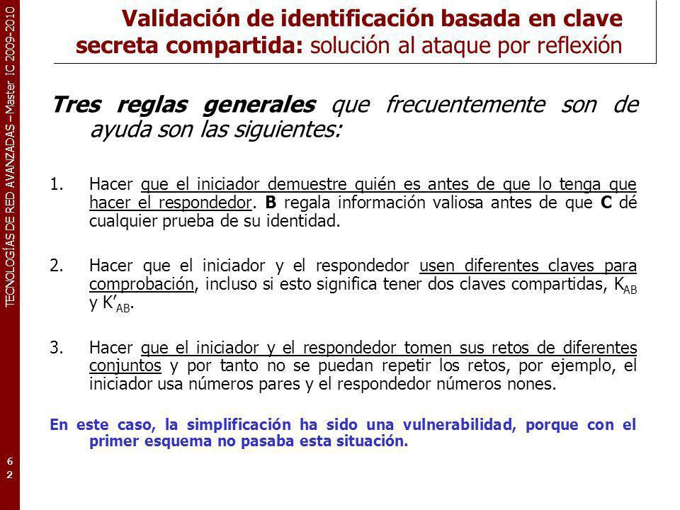 TECNOLOGÍAS DE RED AVANZADAS – Master IC 2009-2010 Validación de identificación basada en clave secreta compartida: solución al ataque por reflexión T