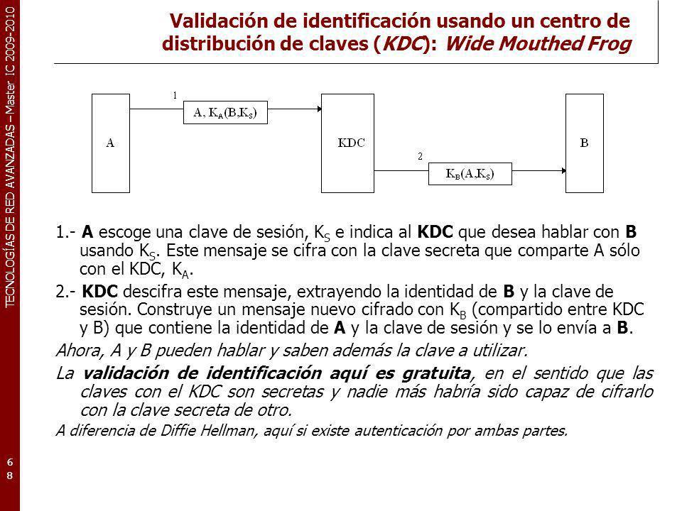 TECNOLOGÍAS DE RED AVANZADAS – Master IC 2009-2010 Validación de identificación usando un centro de distribución de claves (KDC): Wide Mouthed Frog 1.