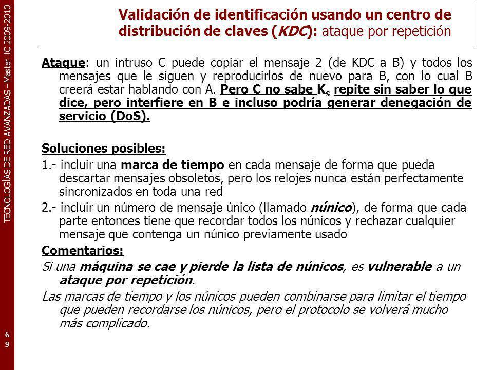 TECNOLOGÍAS DE RED AVANZADAS – Master IC 2009-2010 Validación de identificación usando un centro de distribución de claves (KDC): ataque por repetició