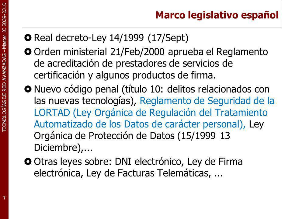 TECNOLOGÍAS DE RED AVANZADAS – Master IC 2009-2010 Marco legislativo español Real decreto-Ley 14/1999 (17/Sept) Orden ministerial 21/Feb/2000 aprueba