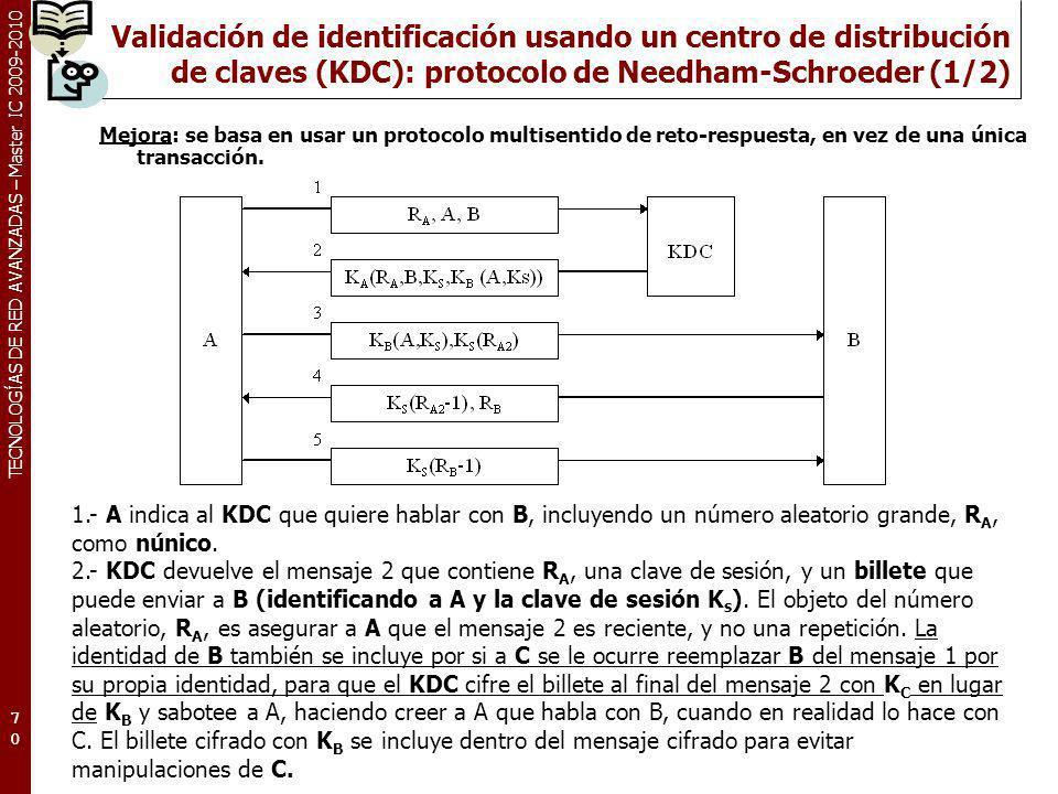 TECNOLOGÍAS DE RED AVANZADAS – Master IC 2009-2010 Validación de identificación usando un centro de distribución de claves (KDC): protocolo de Needham