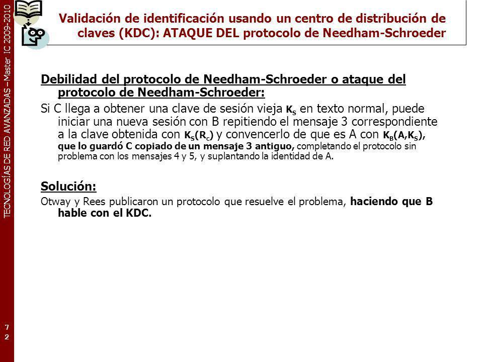 TECNOLOGÍAS DE RED AVANZADAS – Master IC 2009-2010 Validación de identificación usando un centro de distribución de claves (KDC): ATAQUE DEL protocolo
