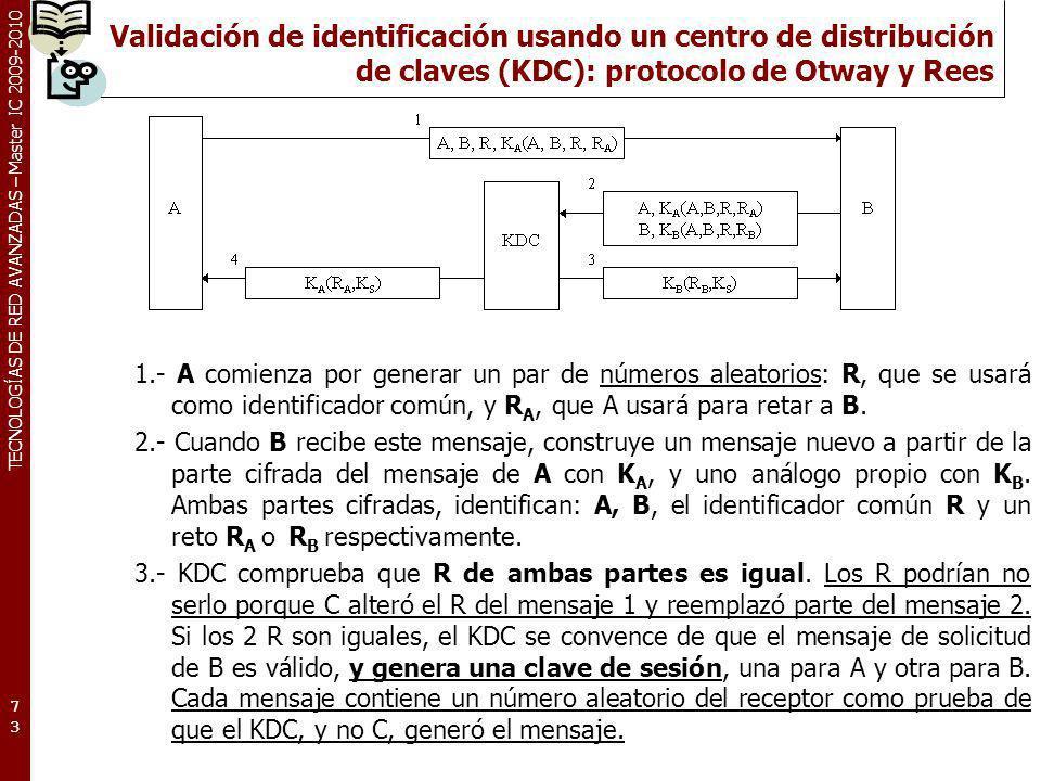 TECNOLOGÍAS DE RED AVANZADAS – Master IC 2009-2010 Validación de identificación usando un centro de distribución de claves (KDC): protocolo de Otway y