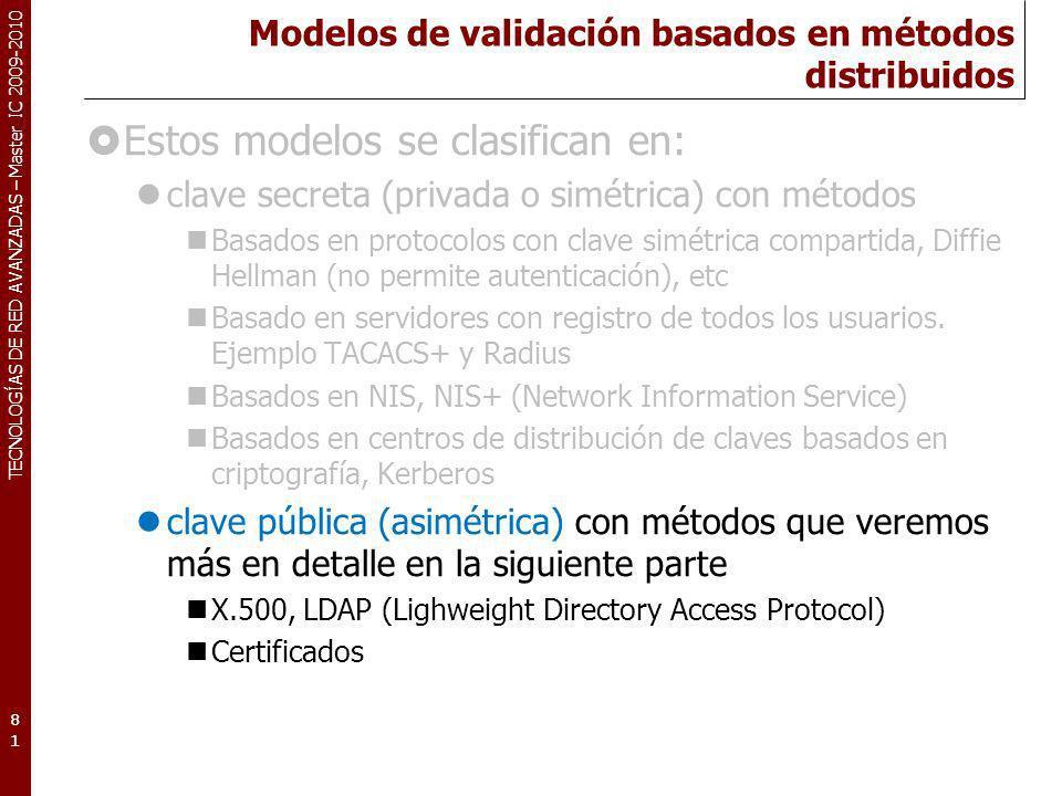 TECNOLOGÍAS DE RED AVANZADAS – Master IC 2009-2010 Modelos de validación basados en métodos distribuidos Estos modelos se clasifican en: clave secreta
