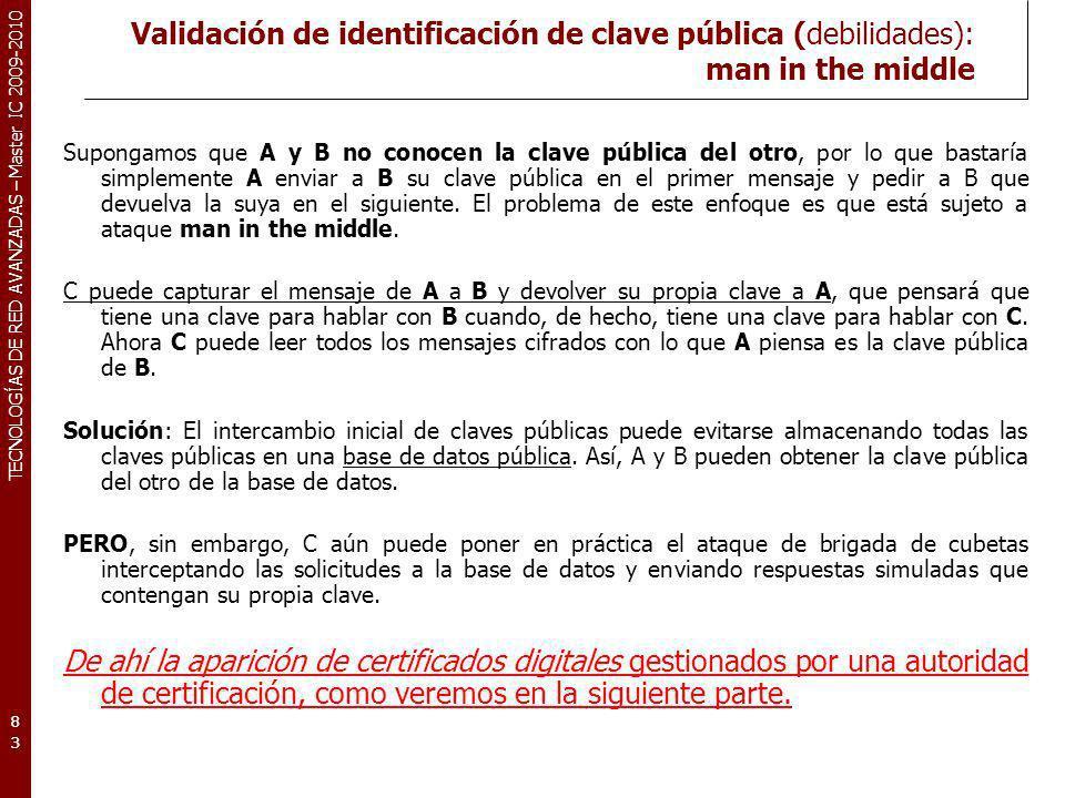 TECNOLOGÍAS DE RED AVANZADAS – Master IC 2009-2010 Validación de identificación de clave pública (debilidades): man in the middle Supongamos que A y B