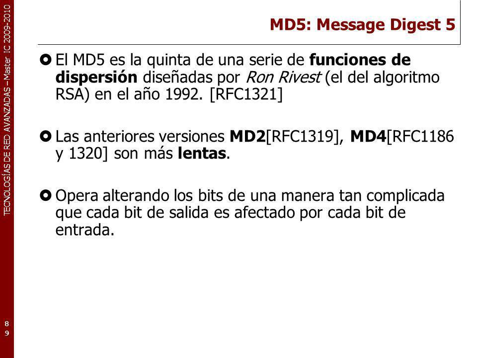 TECNOLOGÍAS DE RED AVANZADAS – Master IC 2009-2010 MD5: Message Digest 5 El MD5 es la quinta de una serie de funciones de dispersión diseñadas por Ron