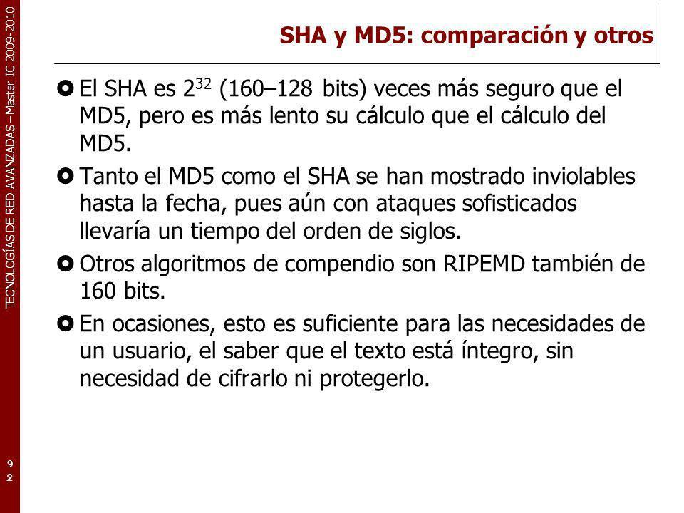TECNOLOGÍAS DE RED AVANZADAS – Master IC 2009-2010 SHA y MD5: comparación y otros El SHA es 2 32 (160–128 bits) veces más seguro que el MD5, pero es m