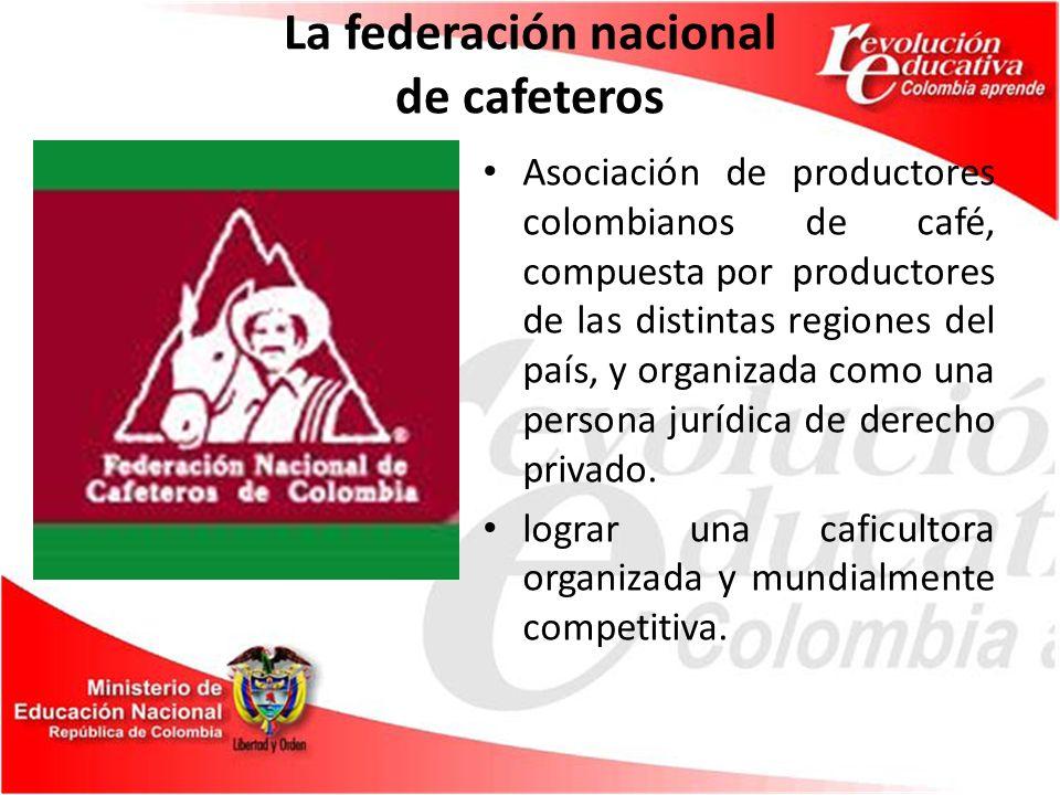 La federación nacional de cafeteros Asociación de productores colombianos de café, compuesta por productores de las distintas regiones del país, y organizada como una persona jurídica de derecho privado.