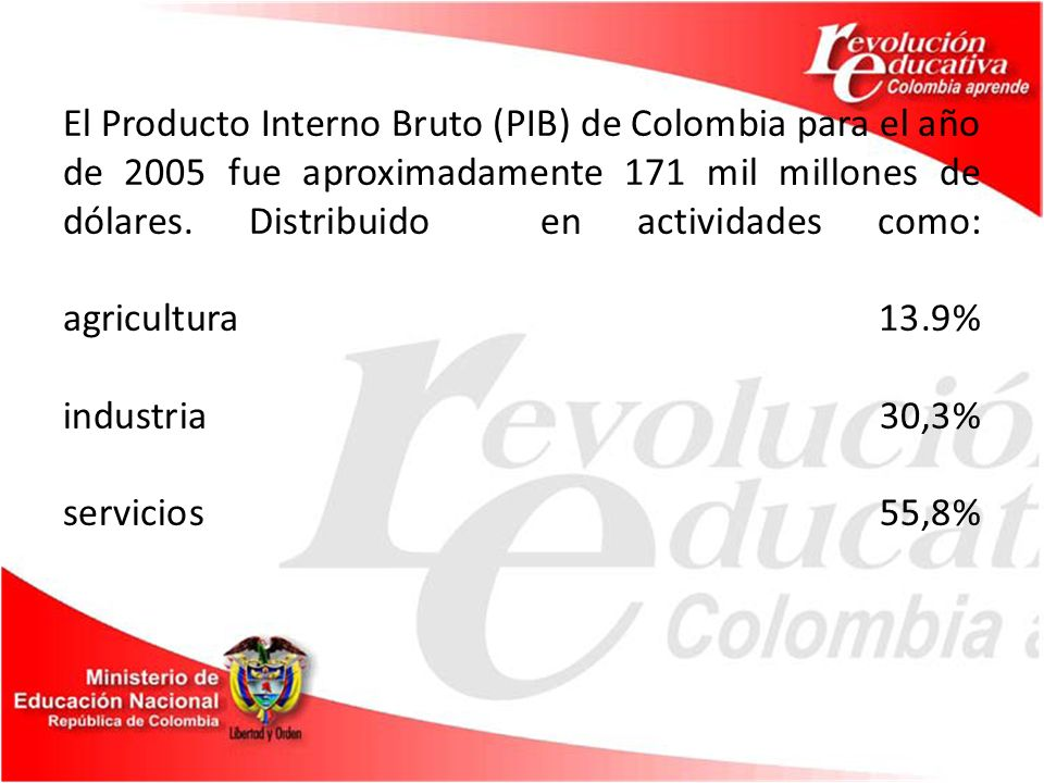 Actividad pecuaria A mediados del siglo XIX la ganadería se consolido como el segundo renglón de importancia en la economía colombiana y dio origen a una amplia industria lechera.