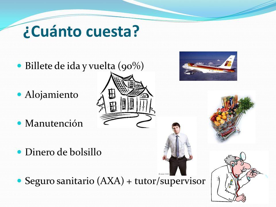 ¿Cuánto cuesta? Billete de ida y vuelta (90%) Alojamiento Manutención Dinero de bolsillo Seguro sanitario (AXA) + tutor/supervisor