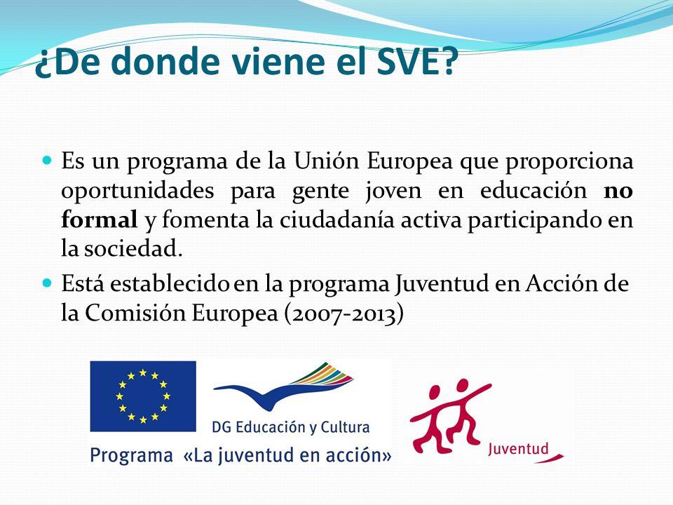 ¿De donde viene el SVE? Es un programa de la Unión Europea que proporciona oportunidades para gente joven en educación no formal y fomenta la ciudadan