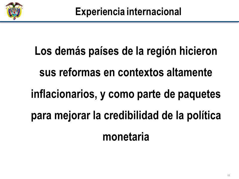 11 Experiencia internacional Los demás países de la región hicieron sus reformas en contextos altamente inflacionarios, y como parte de paquetes para