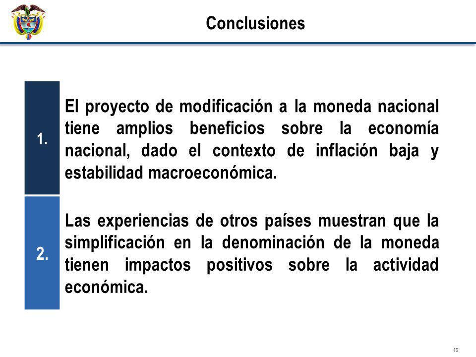 16 Conclusiones 1. El proyecto de modificación a la moneda nacional tiene amplios beneficios sobre la economía nacional, dado el contexto de inflación