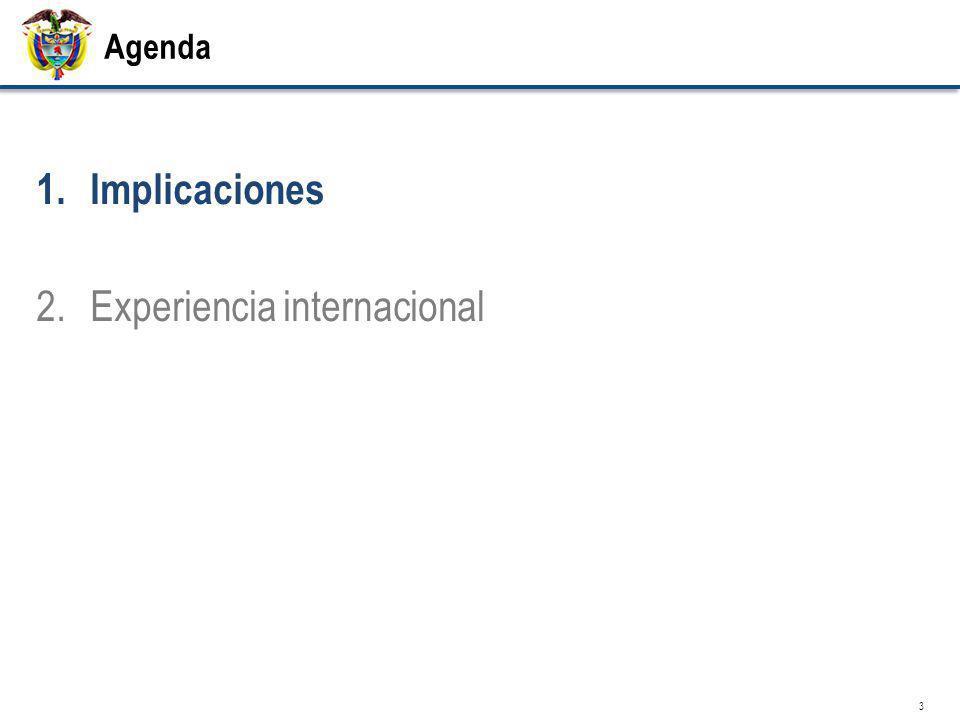 Agenda 1.Implicaciones 2.Experiencia internacional 3
