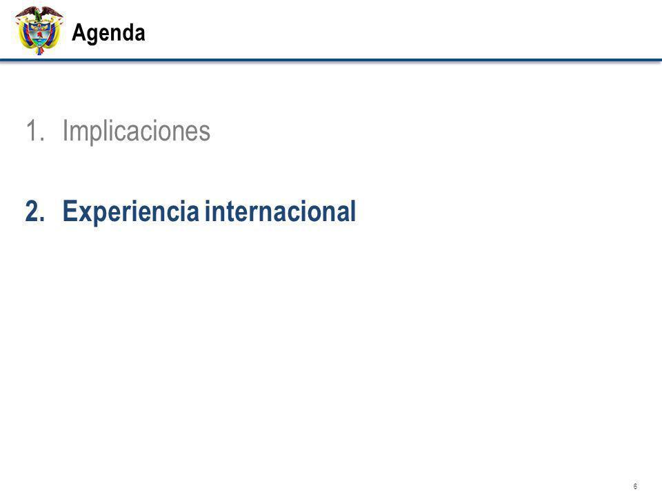 Agenda 1.Implicaciones 2.Experiencia internacional 6