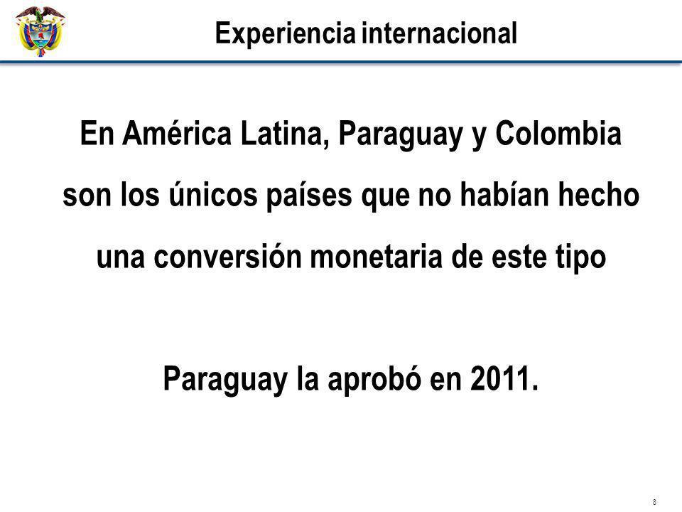 8 Experiencia internacional En América Latina, Paraguay y Colombia son los únicos países que no habían hecho una conversión monetaria de este tipo Par