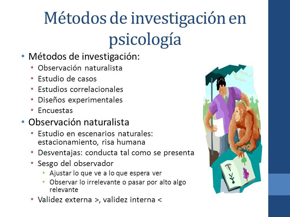 Métodos de investigación en psicología Métodos de investigación: Observación naturalista Estudio de casos Estudios correlacionales Diseños experimenta
