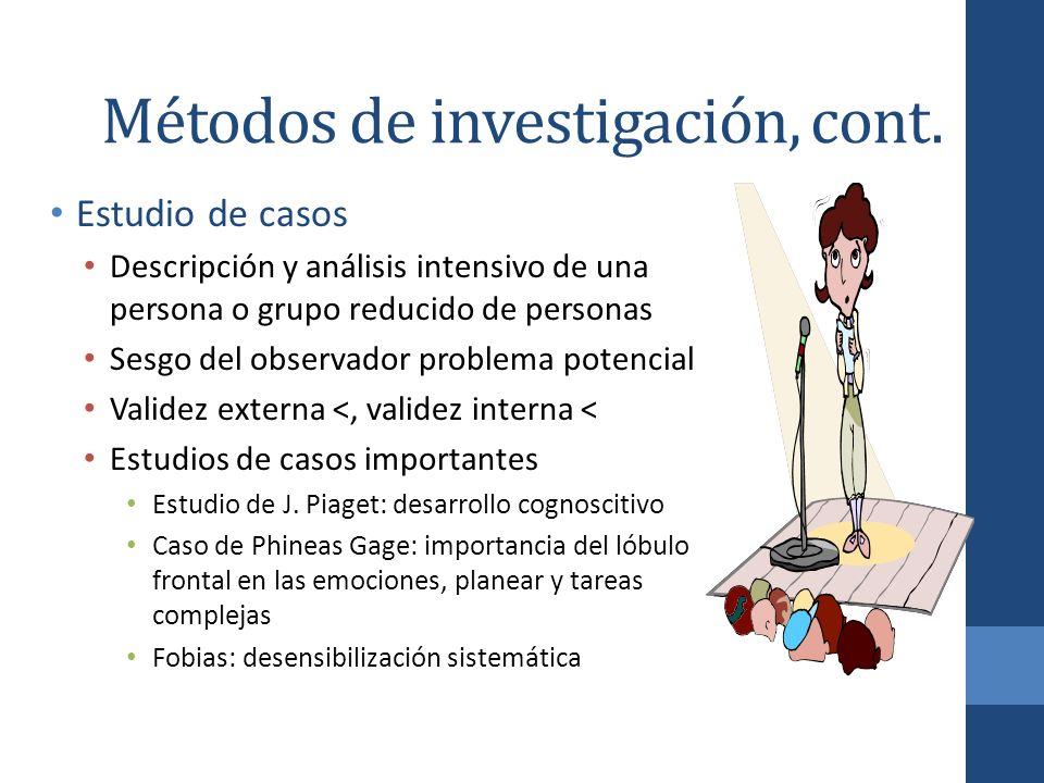 Métodos de investigación, cont. Estudio de casos Descripción y análisis intensivo de una persona o grupo reducido de personas Sesgo del observador pro