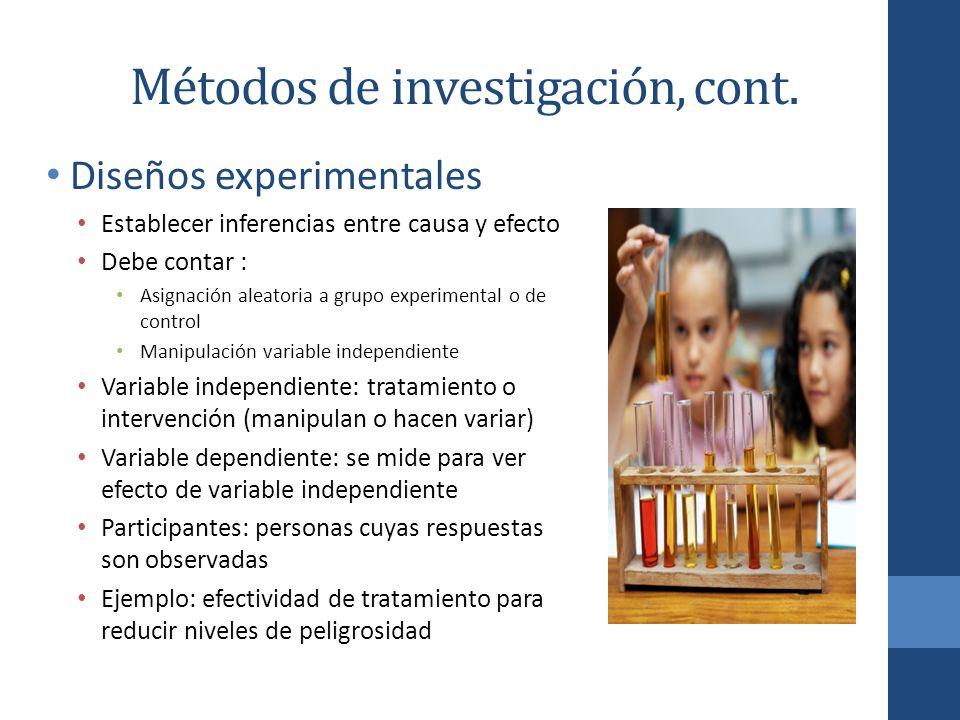 Métodos de investigación, cont. Diseños experimentales Establecer inferencias entre causa y efecto Debe contar : Asignación aleatoria a grupo experime