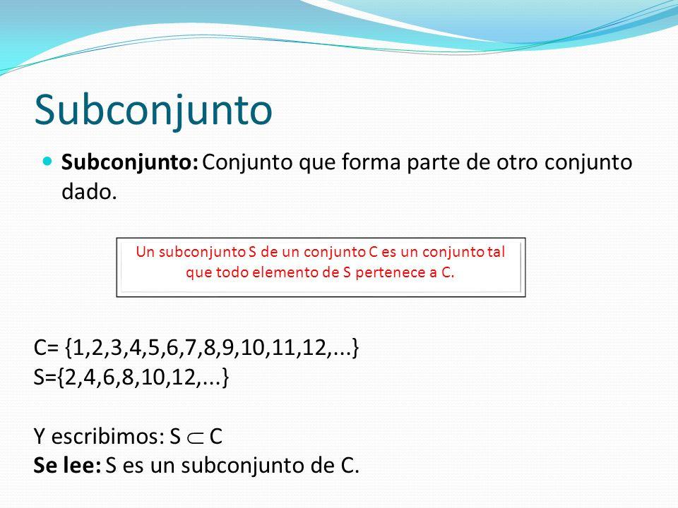 Subconjunto Subconjunto: Conjunto que forma parte de otro conjunto dado. Un subconjunto S de un conjunto C es un conjunto tal que todo elemento de S p