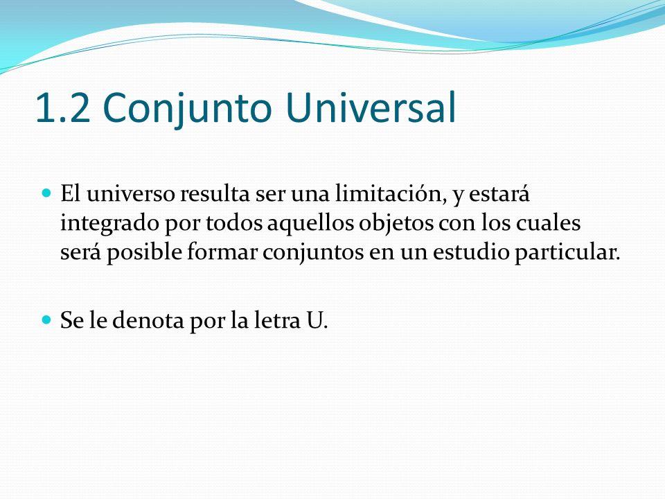 1.2 Conjunto Universal El universo resulta ser una limitación, y estará integrado por todos aquellos objetos con los cuales será posible formar conjun