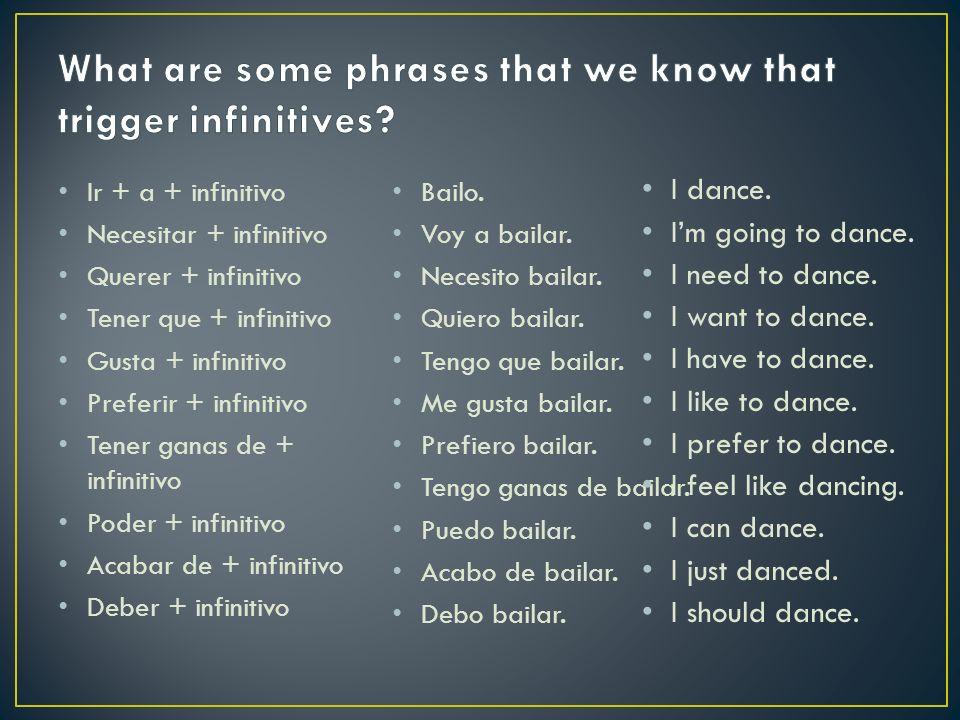 Ir + a + infinitivo Necesitar + infinitivo Querer + infinitivo Tener que + infinitivo Gusta + infinitivo Preferir + infinitivo Tener ganas de + infinitivo Poder + infinitivo Acabar de + infinitivo Deber + infinitivo Bailo.