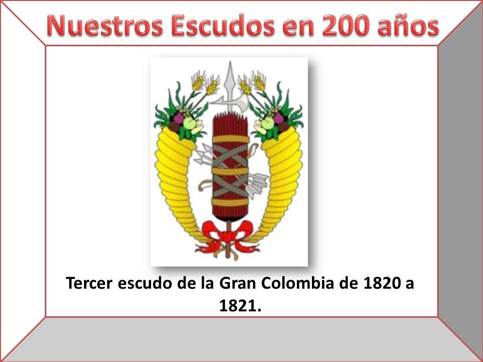 Tercer escudo de la Gran Colombia de 1820 a 1821.