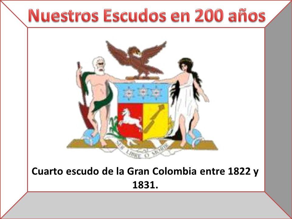 Cuarto escudo de la Gran Colombia entre 1822 y 1831.