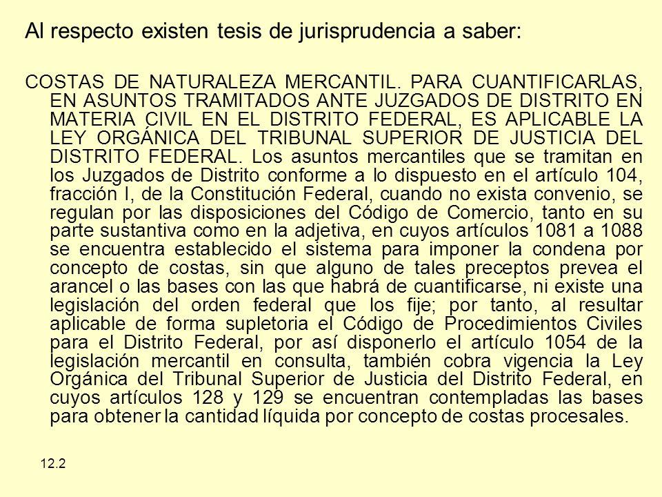 12.2 Al respecto existen tesis de jurisprudencia a saber: COSTAS DE NATURALEZA MERCANTIL.