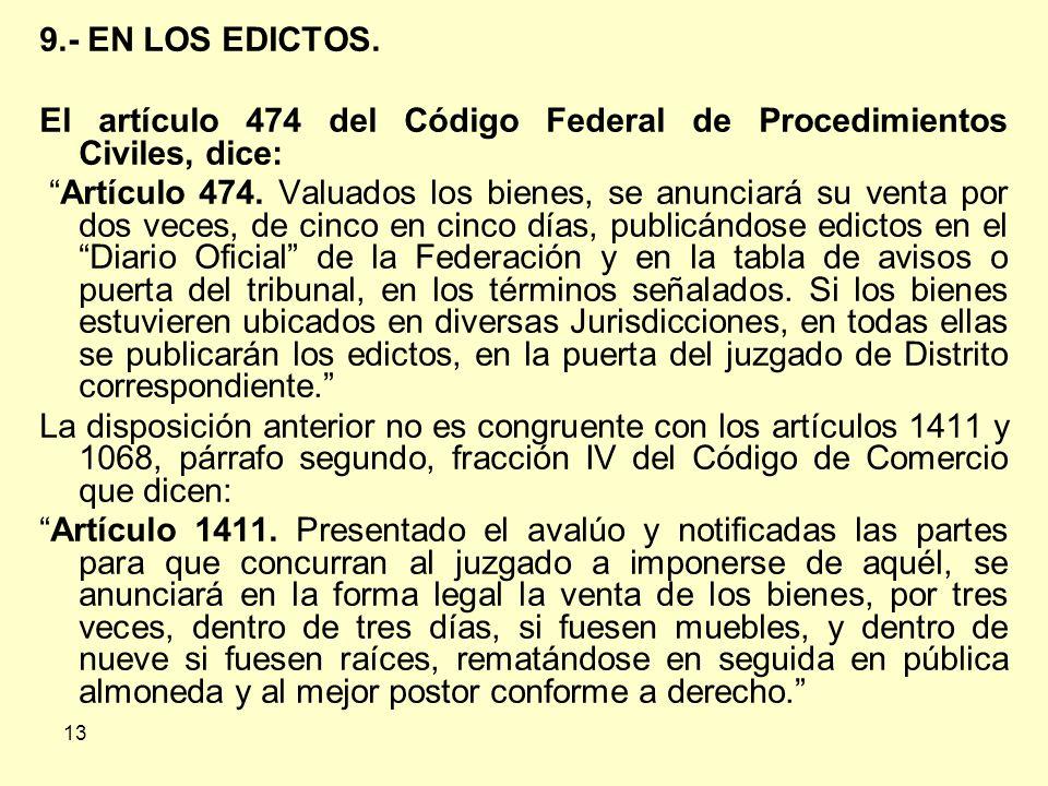 13 9.- EN LOS EDICTOS.