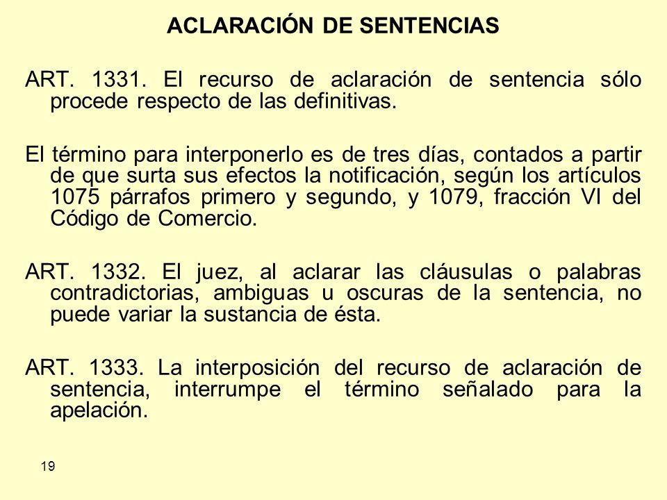 19 ACLARACIÓN DE SENTENCIAS ART.1331.