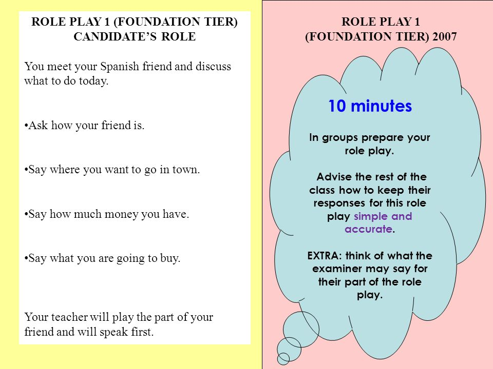 ROLE PLAY 1 (FOUNDATION TIER) CANDIDATES ROLE You meet your Spanish friend and discuss what to do today.