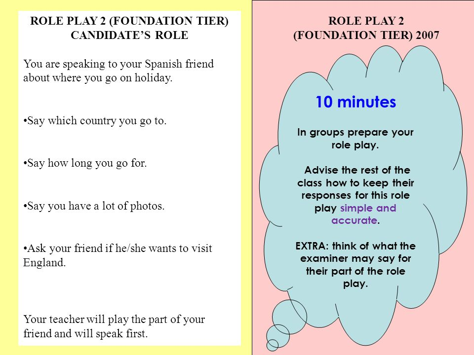 ROLE PLAY 2 (FOUNDATION TIER) CANDIDATES ROLE You are speaking to your Spanish friend about where you go on holiday.